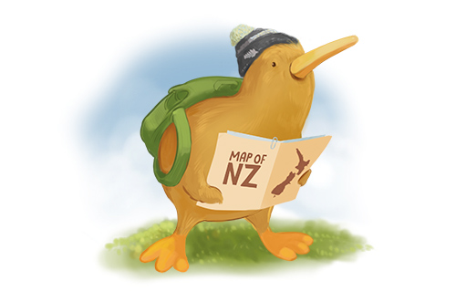 Tama the Kiwi with his map